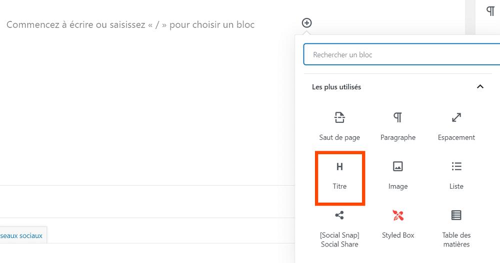 Ajouter un titre dans WordPress