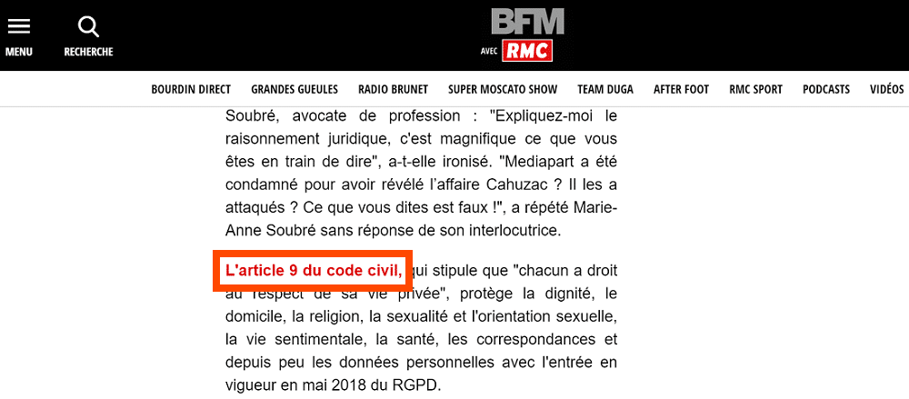 Backlink de BFMTV