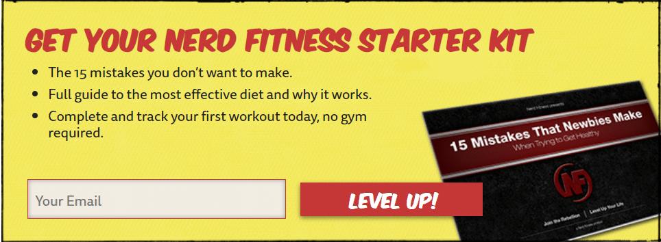 Appel à l'action sur la page à propos de Nerd Fitness