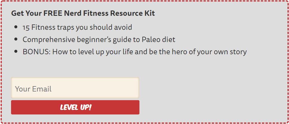 Deuxième appel à l'action sur la page à propos de Nerd Fitness