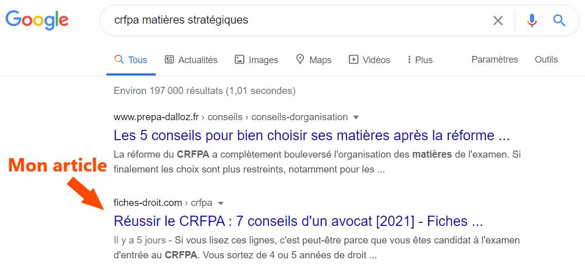 Position de mon article dans les recherches Google
